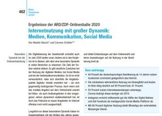 Neue ARD/ZDF-Online-Studie zum Internetnutzung erschienen: